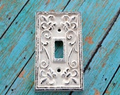 Shabby Chic Creamy White Cast Iron Single Light Switch Cover - Darling addition to your cottage, farmhouse or shabby chic décor!