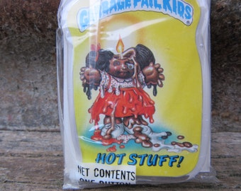 Vintage Garbage Pail Kids HOT STUFF! gpk Card Button Pin Back Plastic Card Topps 1986 Unopened Gag Gift Party 80s GPK Collectible 1980s vtg