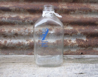 Vintage Glass Milk Bottle Dairy 1/2 Gallon SELDOM SEEN Dairy Farm Blue Applied Label Freedom Pennsylvania PA vtg Glass Milk Bottle vtg Jar