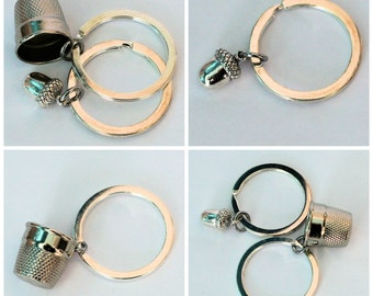 Peter Pan Acorn & Wendy Kiss Thimble Key Rings Silver Metal  - Men - Women - Sweetheart - Lover - Sister - Best Friend