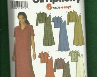 Simplicity 9861 Casual Raised Waist Sleeveless Dress & Matching Jacket  Size 16 to 24 UNCUT