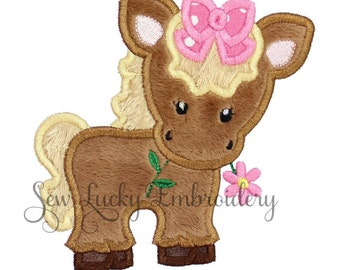 Cute Girl Horse Applique Embroidered Patch, Sew or Iron on