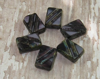 Purple Czech Glass 13x9mm Rectangle Bead Lavender Carved Picasso NIGHTSHADE (10)