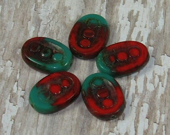 Czech Glass Oval Bead 18x12mm Red Green Carved ARIZONA CHRISTMAS (4)