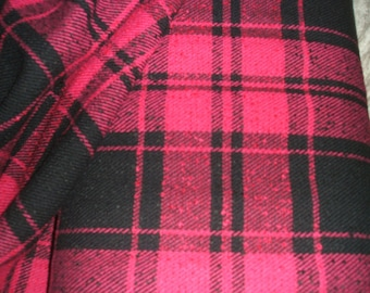 Hot Pink Black Check Boucle Fabric x one yard!