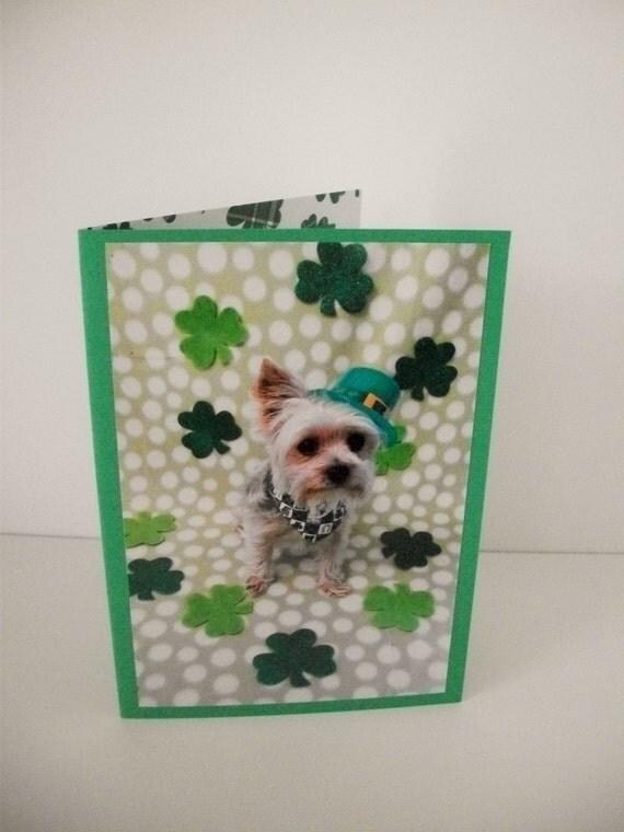 Yorkshire Terrier Irish Card, St. Patrick's Day Card, Fun  Irish Card