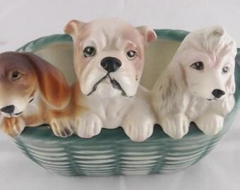 Vintage Ceramic Dog Planter Basket Of Puppies Ceramic Planter / Bowl Vintage Victoria Ceramics Japan