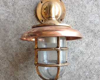 Vintage Beach Decor Brass  Lantern Glass Nautical Restored by SEASTYLE