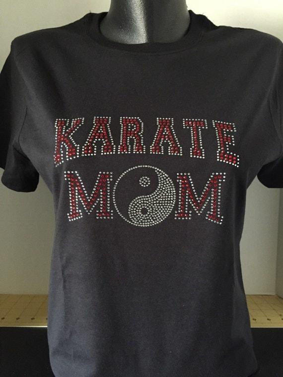 Karate Mom With Ying Yang Custom Bling T Shirt