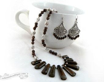 Bronzite jewelry set necklace earrings set brown jewelry bronzite necklace necklace collar geometric necklace bronzite earrings gift for her