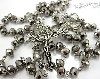 Silver Crystal Rosary Necklace, confirmation rosary, catholic gift, communion rosary, confirmation gift, goth rosary, catholic jewelry, gift