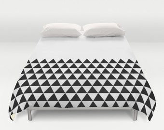36 colours, Geometric Triangles Half Print Duvet Cover, Black and White bedroom decor, double duvet, king duvet cover, queen duvet cover