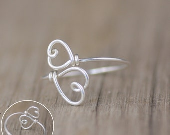 5.99-9.99 dollars Sterling silver double heart ring  Free US Shipping handmade anni designs