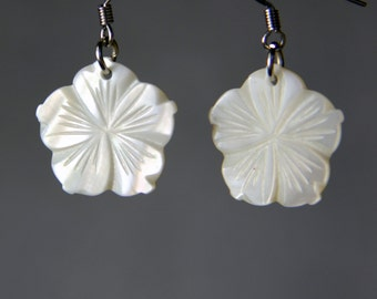 Flower shell simple drop earrings Bridesmaids gifts Free US Shipping handmade Anni Designs