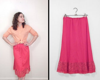 GERANIUM Pink Half Slip 1950s Gilead United Mills Skirt Nylon with Lace