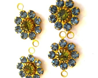 Swarovski flower connector denim blue and khaki two loops flower connector findings Jewelry supply 2 ring connector Qty 4 findings destash