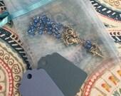 """40 wedding favors  or baptism favors 40 pcs Organza bags, 4"""" x 6"""" organza bag, 40 blue mini  rosaries  favor and 40 blue tags ,"""