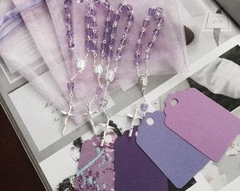 "70 wedding favors  or baptism favors 70 pcs Organza bags, 4"" x 3"" organza bag , 70 lavender mini  rosaries  favor and 70 lavender tags ,"