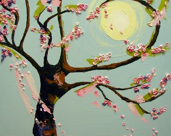 tree with a heart ( original oil painting cherry blossom )