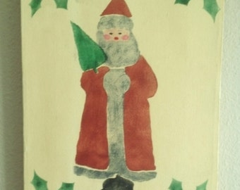 Vintage Original Primitive Unsigned Santa Painting on Canvas with Stenciled Holly