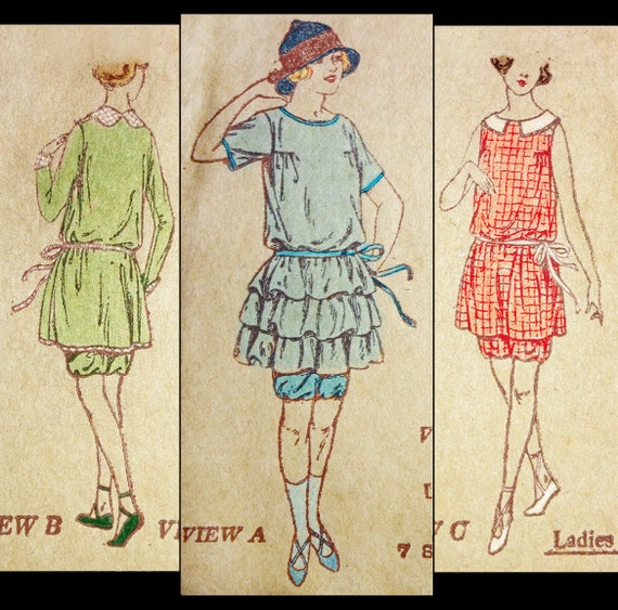 1920s Swimsuits- Women & Mens- History, Sew and Shop Early 1920s Style Swimsuit and Bloomers Custom Made in Your Size From a Vintage Pattern $175.00 AT vintagedancer.com