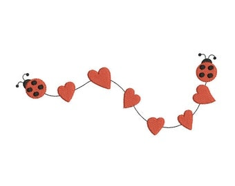 Instant download valentines day heart ladybug embroidery design machine