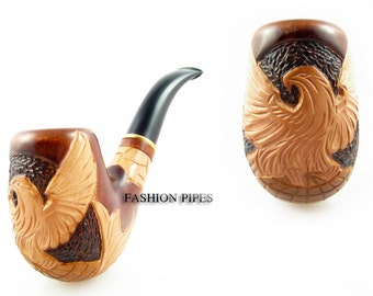 American Eagle Pipe Author Tobacco Pipe, Smoking Pipes. Handcrafted Wooden Pipes. Carved EAGLE Wood pipe & Cooler Gift