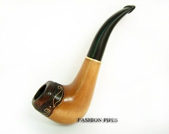 Unique Smoking Pipe/Pipes Tobacco pipe Wooden pipe inlaid for pipe smokers. Carved Pipe Wood Pipes-Pipe