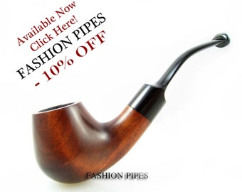 Sale - Pipe BENT 5.5'', Tobacco Pipe/Pipes, Smoking Pipes/Pipe of Pear Wood Pipe, Fits 9mm filter, Sherlock Holmes Style.