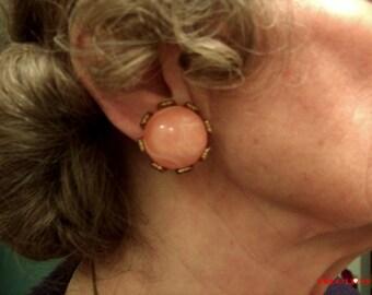 Clip-on earrings, Peach acylic on gold metal earrings, Peach plastic earrings, clip on earrings.....