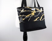 Custom Order for Medium Tote in Joel Dewberry Aviary 2 Cavern with Black Cotton Duck Bottom and Black Cotton Straps