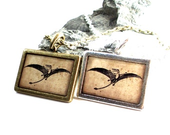 Pterodactyl Necklace - Dinosaur Pendant in Bronze or Silver - Jurassic Fossil - Dino Jewelry