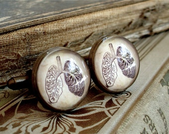 Anatomical Lungs Cufflinks / Cuff Links - Antique Anatomy Print Cufflinks in Brass