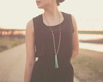 Tassel Necklace Leather Long Mint and Hot Pink Clear Beaded Tassel Necklace