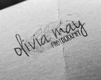 Photography Logo Instant Download : Hand Drawn Feather Watermark, Premade, PSD, DIY, Fully Editable, Brother Wilson Graphic Design