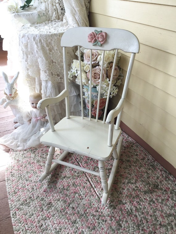 ... Rocker, Childs Rocking Chair, Baby Girl Chair, Shabby Chic White