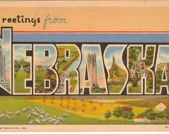 Linen Postcard, Greetings from Nebraska, Lincoln, Omaha, Kearney, Large Letter