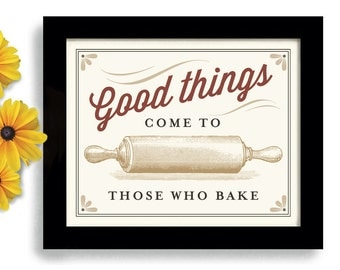 Baker Gift Kitchen Art Print Cooking Gift Rolling Pin Loves to Bake Homemade Cooking Favorite Recipe Measuring Cups Bakery Sign