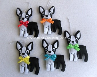 Christmas ornaments - Set of 5 Boston Terrier
