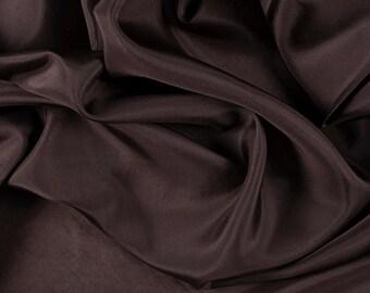 "45"" Wide 100% Silk Crepe de Chine Dark Brown by the yard"