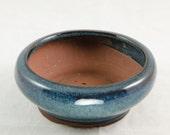 "Round Dark Blue Mame Shohin Bonsai Pot  5""x5""x1.75"""