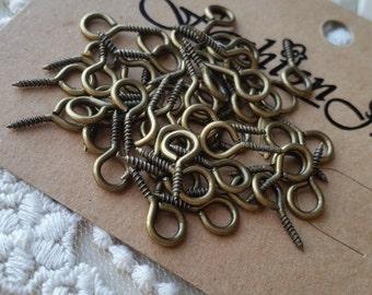 13 x 6 mm Antiqued Bronze Screw Eye Pins (.mnm)