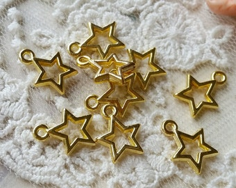 9 mm Golden Plated Star Charm Pendants (.mg)