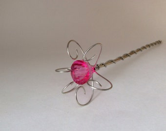 Fairy Wand or Princess Scepter - Jewel Wand- Silver and Pink