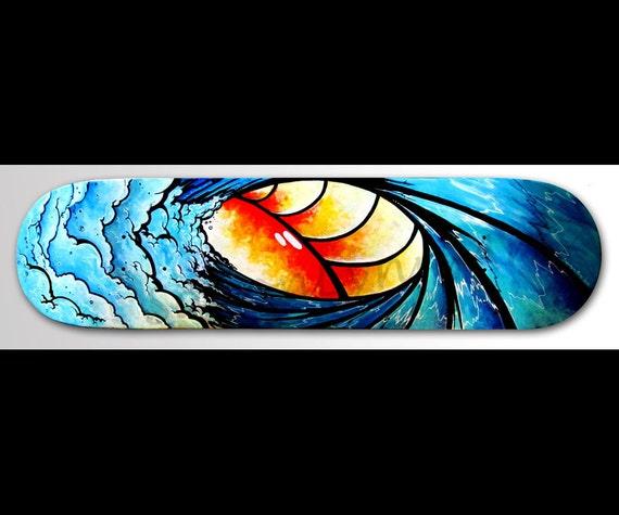 Wave Painting Wave Art Skateboard Decor Ocean Decor