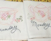 FREE SHIPPING Set of Seven Peach&Pink Tea Towels Daily  Dishes OOAK