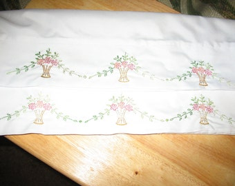 Hand Embroidered Microfiber Pillowcases with Baskets of Daisies OOAK
