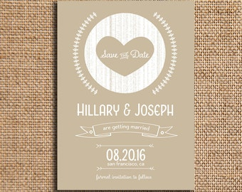 Wedding Save the Date - Engagement Announcement - 5x7 Cardstock - Set of 20 - Wood Etch - Choose Your Color