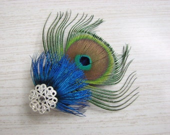 Peacock Feather Hair Clip with Silver Accent Piece and Rhinestone