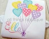 Heart Balloons Applique Design - SATIN Stitch (#597) - Valentine Applique Design - INSTANT DOWNLOAD